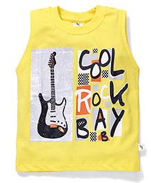 Cucumber Sleeveless T-Shirt Guitar Print - Yellow