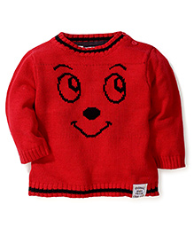 Pumpkin Patch Full Sleeves Sweater Panda Face Design - Red