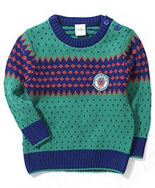 Babyhug Designer Pullover Sweater - Green & Blue