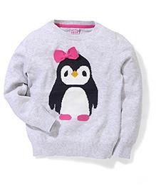 Sela Full Sleeves Sweater Penguin Design - Light Grey