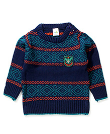 Babyhug Full Sleeves Sweater Sport King Patch - Navy