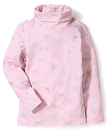 Sela Long Sleeves Top Bow Print - Light Pink