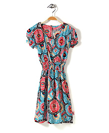 Chic Girls Printed Midi Dress - Blue And Multicolor