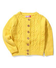 Sela Full Sleeves Knit Cardigan - Yellow