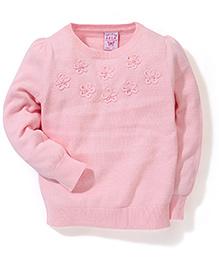 Sela Full Sleeves Flower Design Sweater - Light Pink
