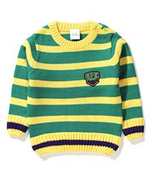 Babyhug Full Sleeves Sweater SPK Patch - Green Yellow