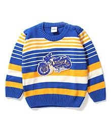 Babyhug Motorcycle Patch Sweater - Blue & Yellow