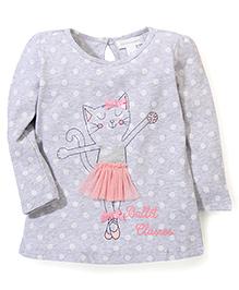 Pumpkin Patch Long Sleeves Top Kitty Print - Grey