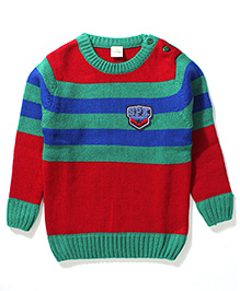 Babyhug Full Sleeves Sweater SPK Patch - Red Green