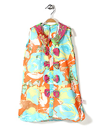 Chic Girls Printed Sleeveless Tunic - Multicolour