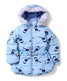 Sela Full Sleeves Hooded Jacket Birds Print - Light Blue