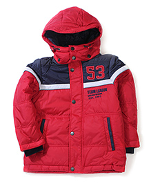 Sela Full Sleeves Hooded Jacket 53 Patch - Red And Navy Blue