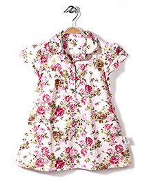 Little Fairy Collar Neck Frock Rose Print - Light Pink