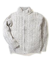 Sela Full Sleeves Zip Up Cardigan - Grey