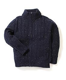 Sela Full Sleeves Zip Up Cardigan - Navy Blue