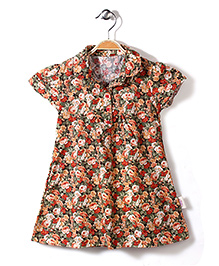 Little Fairy Short Sleeves Frock Rose Print - Orange Green