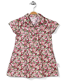 Little Fairy Short Sleeves Frock Rose Print - Pink Green