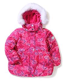 Sela Full Sleeves Hooded Jacket Floral Print  - Pink