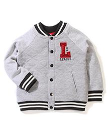 Sela V Neck Sweat Jacket Alphabet Patch - Grey