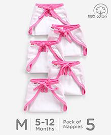 Babyhug U Shape Muslin Nappy Set Medium Pack Of 5 - Pink And White