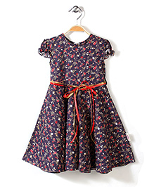 Little Fairy Cap Sleeves Frock Flowers Print - Navy Blue
