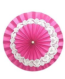 Prettyurparty Dark Pink Rosette Paper Fans - Medium