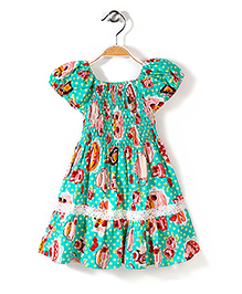 Little Fairy Smocked Dress Polka Dot Print - Green