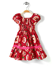 Little Fairy Smocked Dress Polka Dot Print - Red