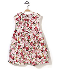 Little Fairy Peter Pan Collar Frock Floral Print - Cream