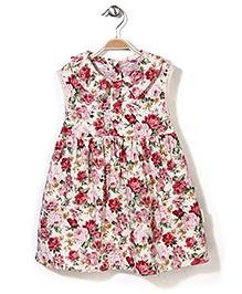 Little Fairy Peter Pan Collar Frock Floral Print - Cream