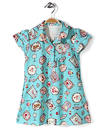 Little Fairy Cap Sleeves Frock Multi Print - Aqua Green