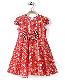 Little Fairy Short Sleeves Printed Frock With Bow - Red