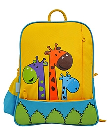 Star Gear Happy Giraffe Backpack Yellow & Turquoise Blue - 14 Inches