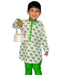Can Print Kurta Set - White And Green