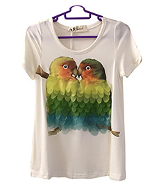 Peppy Parrot Printed Top - White