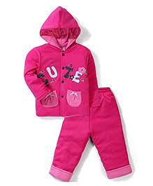 Child World Hooded Jacket And Pant Set Floral Patch - Dark Pink
