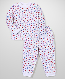 I Kids Full Sleeves Pyjama Set Ladybug Print - White