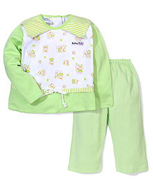 Super Baby Full Sleeves Night Suit Bunny Print - Green And White