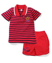 Super Baby by I Kids Striped T-Shirt & Shorts Set - Red & Black