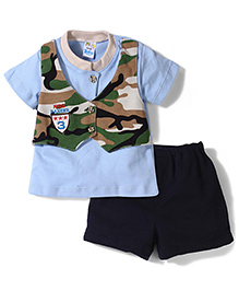 Super Baby by I Kids Attached Jacket T-Shirt & Shorts Set - Sky Blue
