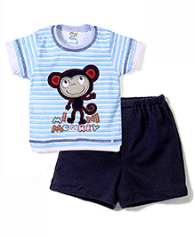 Super Baby by I Kids Monkey Print T-Shirt & Shorts Set - Sky Blue
