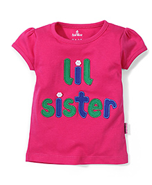 Child World Short Sleeves Top Sister Embroidery - Fuchsia Pink