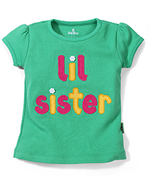 Child World Short Sleeves Top Sister Embroidery - Green