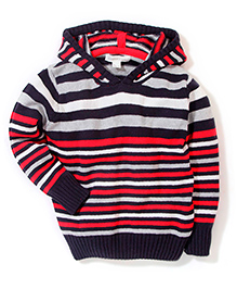 Pumpkin Patch Stripe Knit Hooded Sweater - Red And Blue