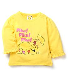 Babyhug Pokemon Full Sleeves Top Pikachu Print - Yellow