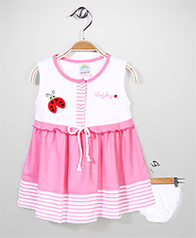 Childhood Sleeveless Lady Bug Embroidered Frock With Bloomer - Pink