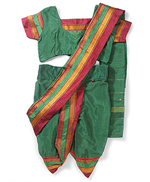 Bhartiya Paridhan Nauvari Saree Set Mikta Panji Border - Green