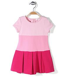 Pumpkin Patch Short Sleeves Block Ponte Dress - Pink