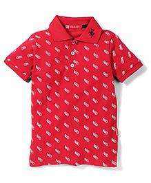 Kidsplanet Half Sleeves Printed Polo T-Shirt - Red