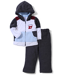My Kids Hooded Jacket And Pant Set Number 27 Embroidery - Grey And White